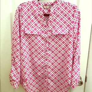 EUC Coral Bay Hot pink & white pattern button up